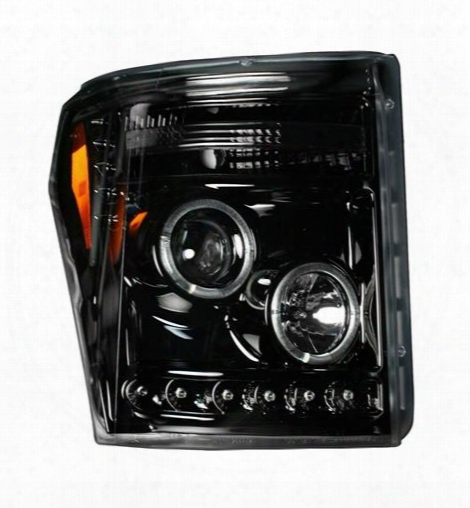 Recon Recon Halo Led Projector Headlights (black) - 264272bk 264272bk Headlights, Housings And Conversions