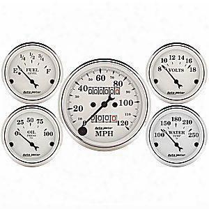 Auto Meter Auto Meter Old Tyme White 5 Gauge Set - 1611 1611 Gauge Set