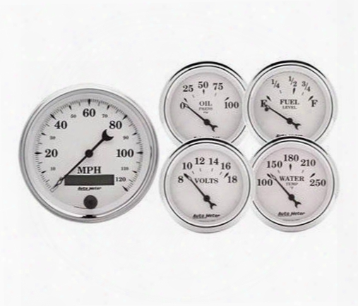Auto Meter Auto Meter Old Tyme White Ii Street Rod Kit - 1200 1200 Gauge Set