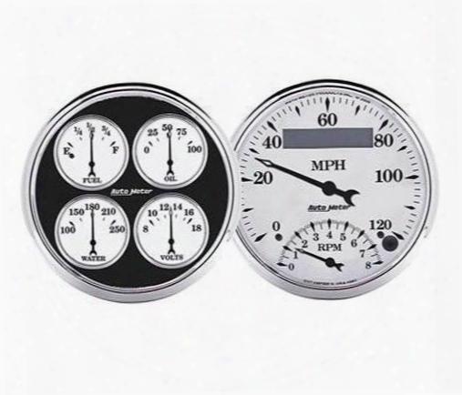 Auto Meter Auto Meter Old Tyme White Ii Quad Gauge/tach/speedo Kit - 1203 1203 Gauge Set