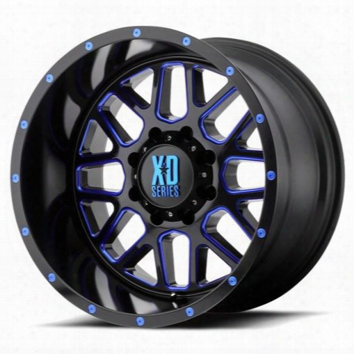 Xd Wheels Xd820 Grenade, 20x12 Wheel With 8 On 6.5 Bolt Pattern - Satin Black Milled With Blue Tinted Clear Coat Xd82021280944nbc Xd Series Wheels