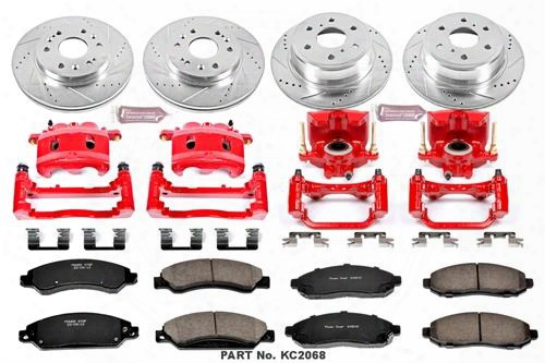 Power Stop Power Stop 1-click Performance Brake Kit W/calipers (natural) - Kc2068 Kc2068 Disc Brake Calipers, Pads And Rotor Kits