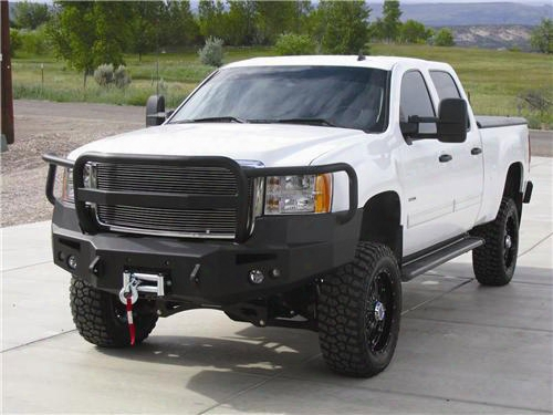 2010 Gmc Sierra 2500 Hd Fab Fours Front Winch Bumpers With Full Grille Guard In Black Powder Coat