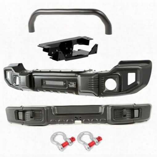2010 Jeep Wrangler (jk) Rugged Ridge Spartacus Bumper Kit With Overrider Bar And Winch Plate