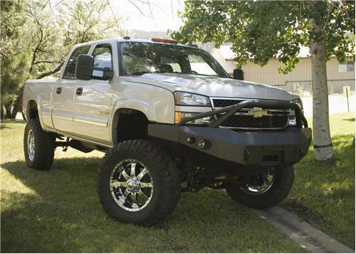 2004 Chevrolet Silverado 3500 Fab Fours Pre-runner Front Winch Bumper With D-rings And Lights In Black Powder Coat
