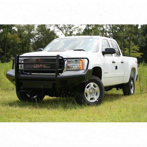 2011 Gmc Sierra 2500 Hd Fab Fours Grill Guard Front Ranch Bumper In Bare Steel Tread Plate With Tow Hooks