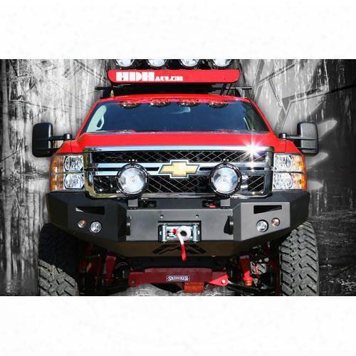 2011 Gmc Sierra 2500 Hd Fab Fours Heavy Duty Winch Bumper With Full Grille Guard In Bare Steel