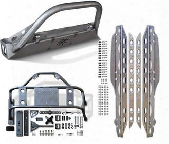2010 Jeep Wrangler (jk) Genuine Packages Bfh Front Bumper, Body Mounted Tire Carrier And Rocker Knockers