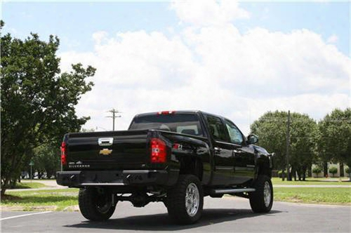 2004 Chevrolet Silverado 3500 Fab Fours Rear Ranch Bumper In Black Powder Coated Tread Plate