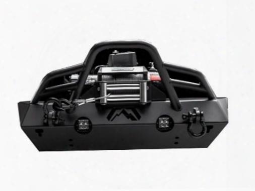 2010 Jeep Wrangler (jk) Fab Fours Stubby Front Bumper In Black Powder Coat