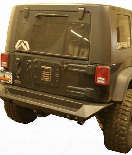 2010 Jeep Wrangler (jk) Fab Fours Rear Base Bumper With D-ring And Cb Antenna Mount In Black Powder Coat