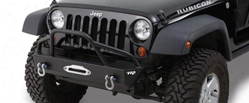 2010 Jeep Wrangler (jk) Warrior Stuby Winch Bumper With Pre-runner Brush Guard And D-ring Mounts