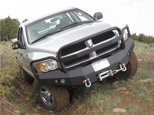 2003 Dodge Ram 3500 Fab Fours Grill Guard Heavy Duty Winch Bumper In Black Powder Coat With Lights And D-ring Mounts