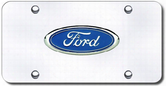 3d Chrome Ford Colored Logo Stainless Steel License Plate