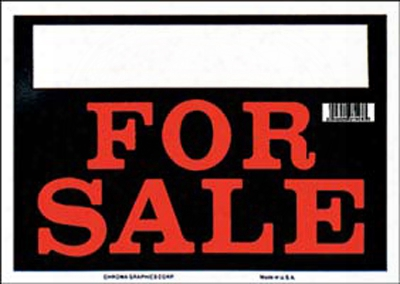 "Black & Red For Sale Sign 8"" X 12"""