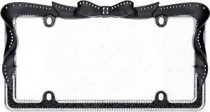 Black/clear Ribbon Bling License Plate Frame