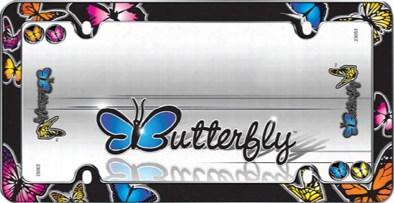 Butterflies Black License Plate Frame