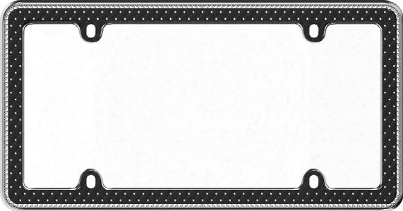 Button Tuck Bling Black License Plate Frame