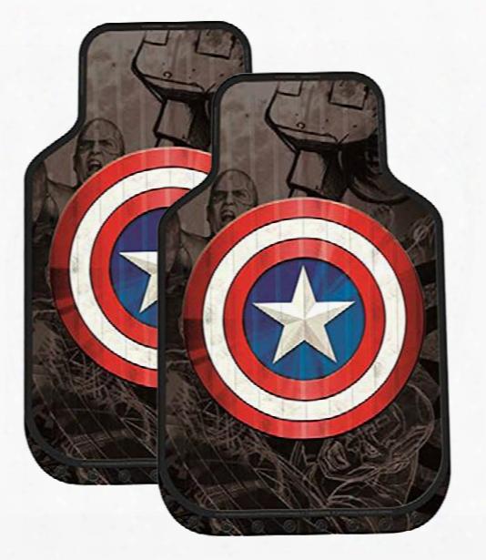 Captain America Shield Rubber Floor Mats Pair