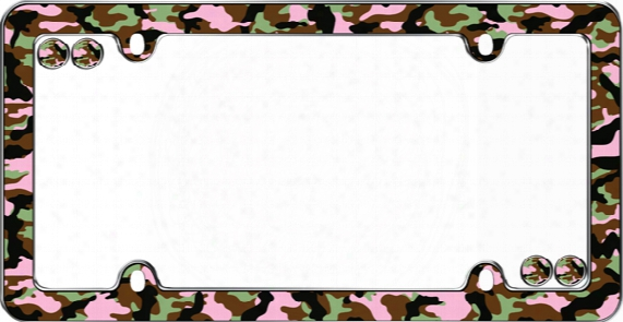Chrome Camo-girl License Plate Frame Kit
