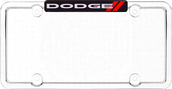 Chrome Plated Black/red Dogde Logo License Plate Frame