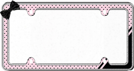 Chrome Plated Pink/black Retro Polka Dot Bling License Plate Frame