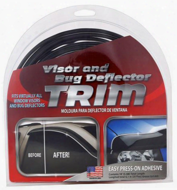 Chrome/black Bug Delector & Window Visor Trim 18 Ft.