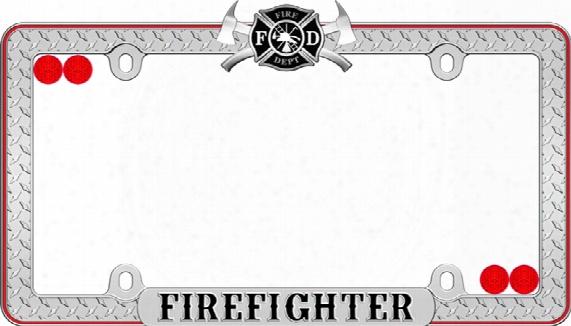 Firefighter Diamond Plate Black & Red License Plate Frame Kit