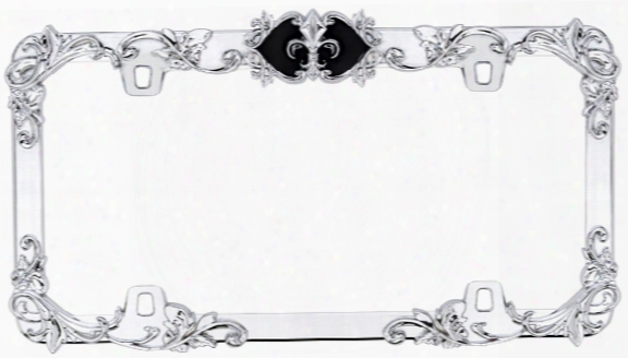 Fleur De Lis Chrome & Black License Plate Frame