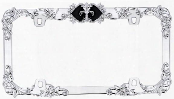 Fleur De Lis Chrome & Black License Plate Frame
