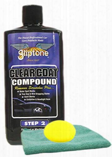 Gliptone Clearcoat Compound 16 Oz Microfiber Cloth & Foam Pad  Kit