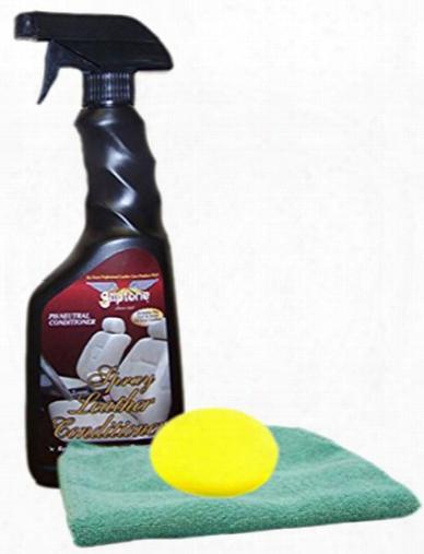 Gliptone Leather Conditioner Spray 17 Oz Microfiber Cloth & Foam Pad Kit