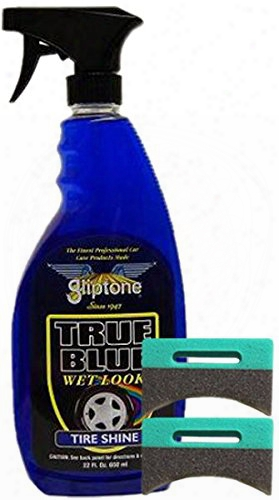 Gliptone True Blue Professional Tire Shine 22 Oz & Applicator Pads Kit