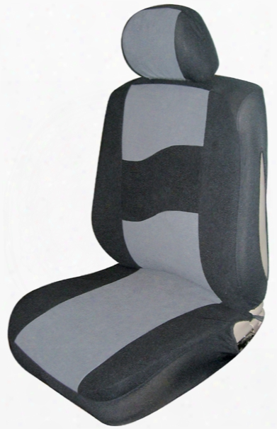 Gray Low Back Side Air Bag Bucket Seat Cover Pair