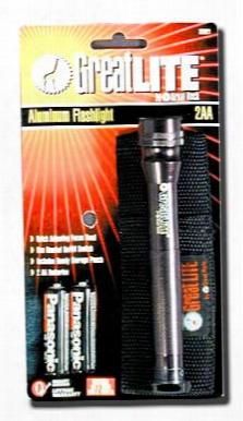 Greatlite Aluminum Flashlight With 2 Aa Batteries