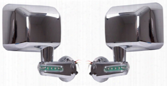 Jeep Wrangler Jk Chrome Mirrors With Led Turn Signal Indicators-pair 2007-2017