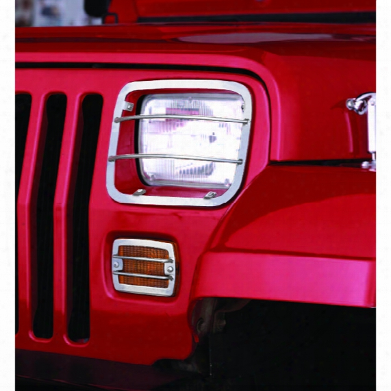 Jeep Wrangler Stainless Steel Headlight & Turn Signal Guards 1987-1995