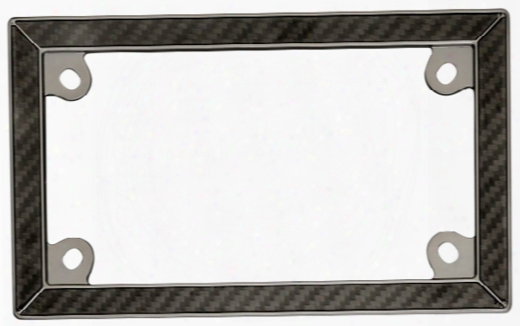 Motorcycle Black Chrome Carbon Fiber License Plate Frame