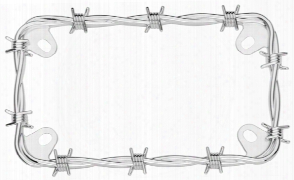 Motorcycle Chrome Barbed Wire License Plate Frame