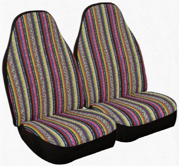 Multi-color Praire Strip Seat Covers Pair