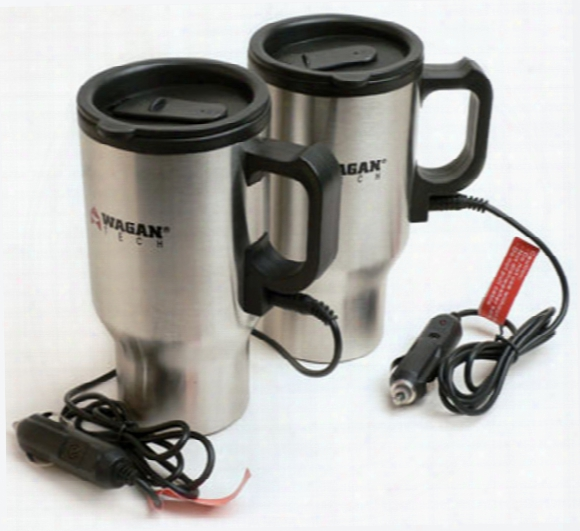 Wagan 16 Oz. Stainless Steel Heated Travel Mugs Pair