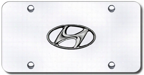 3d Chrome Hyundai Logo Stainless Steel License Plate