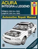 Haynes Repair Manual For Acura Integra & Legend 1990-1995