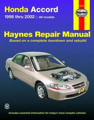 Haynes Repair Manual For Honda Accord 1998-2002