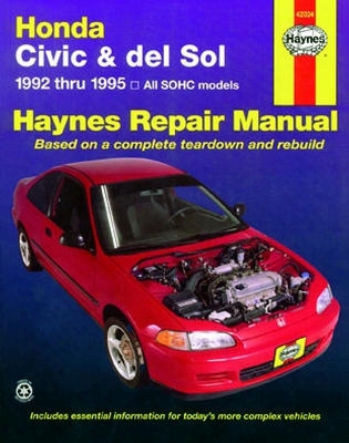 Haynes Repair Manual For Honda Civic & Del Sol 1992-1995