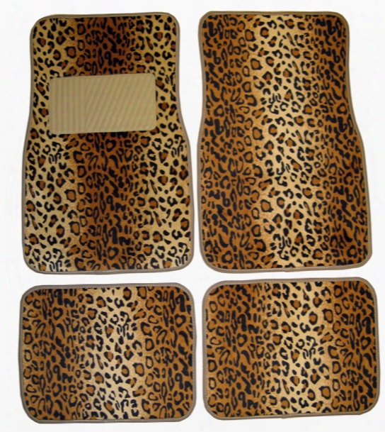 Leopard Print 4 Piece Floor Mat Set