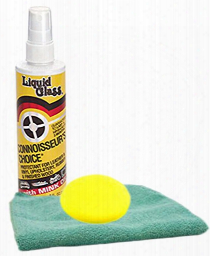 Liquid Glass Leather Vinyl & Rubber Protectant 8 Oz. Microfiber Cloth & Foam Pad Kit