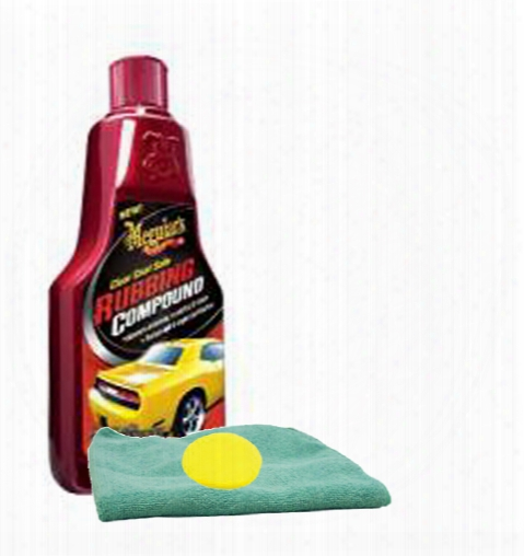Meguiars Clear Coat Safe Rubbing Compound 16 Oz. Foam Pad & Microfiber Cloth Kit