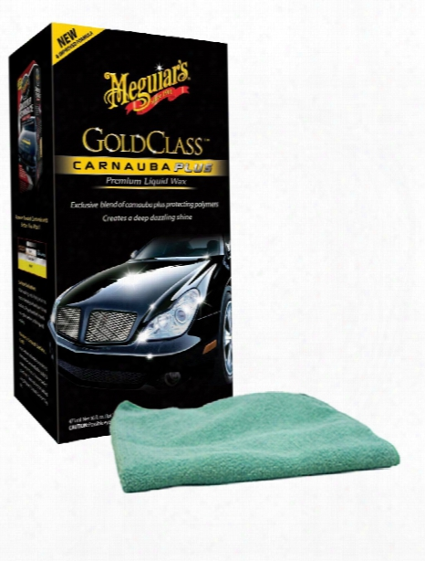 Meguiars Gold Class Carnauba Plus Premium Liquid Wax 16 Oz. & Microfiber Cloth Kit