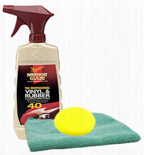 Meguiars Professional Vinyl & Rubber Cleaner 16 Oz. Microfiber Cloth & Foam Pad Kit